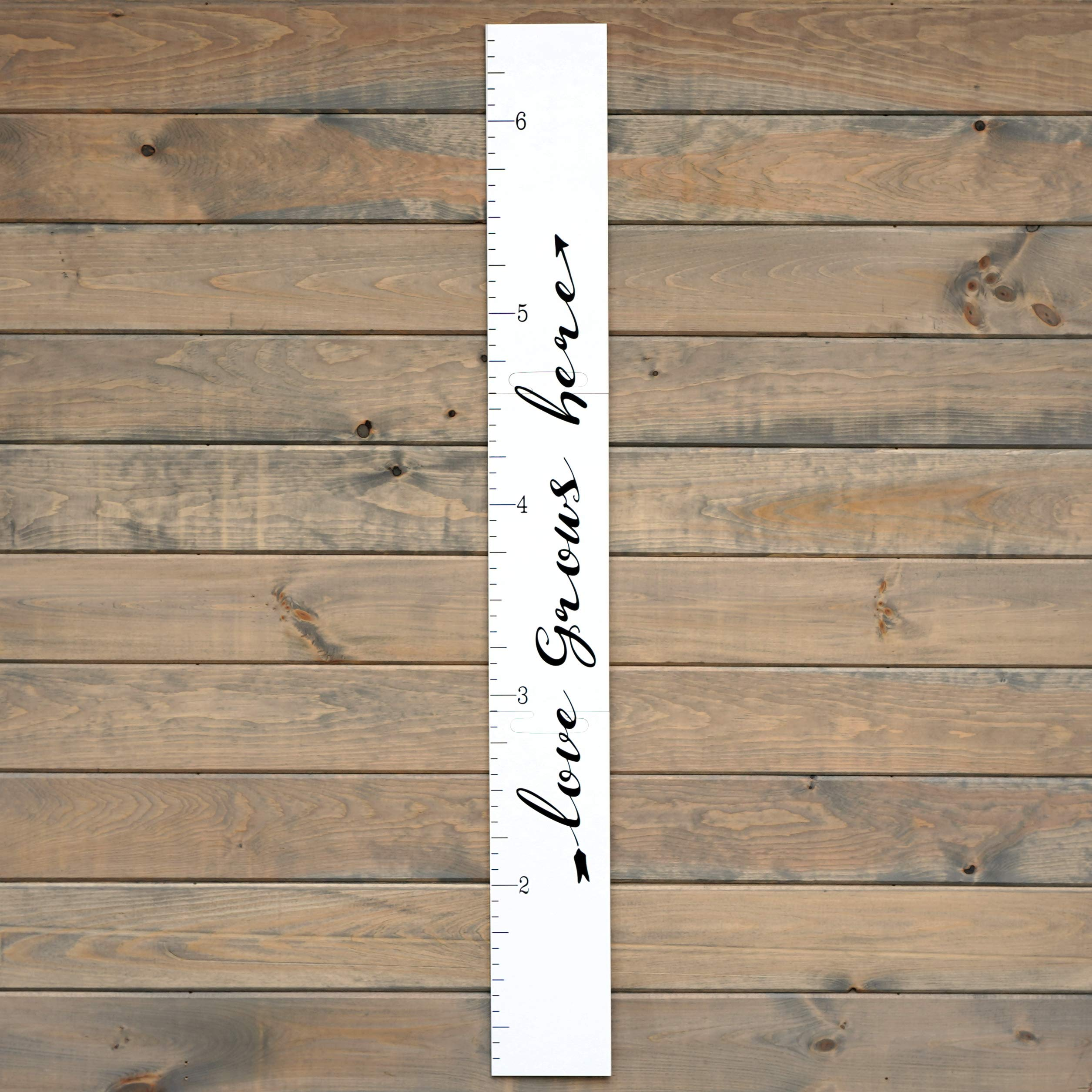 Growth Chart Art | Giant Ruler Wooden Height Chart | Wood Growth Chart for Babies, Kids, Boys & Girls | Love Grows Here (White Script)