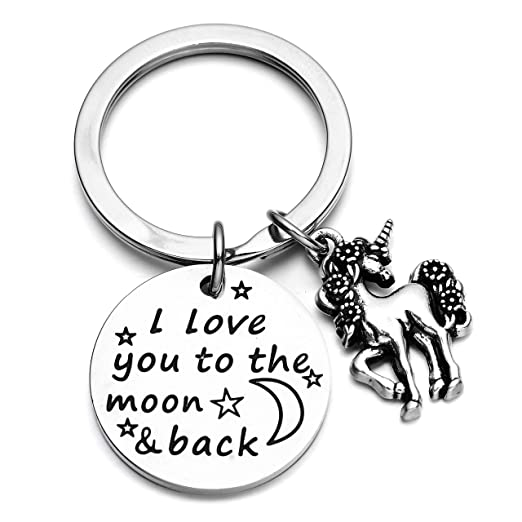 Amazoncom I Love You To The Moon And Back Unicorn Keychain