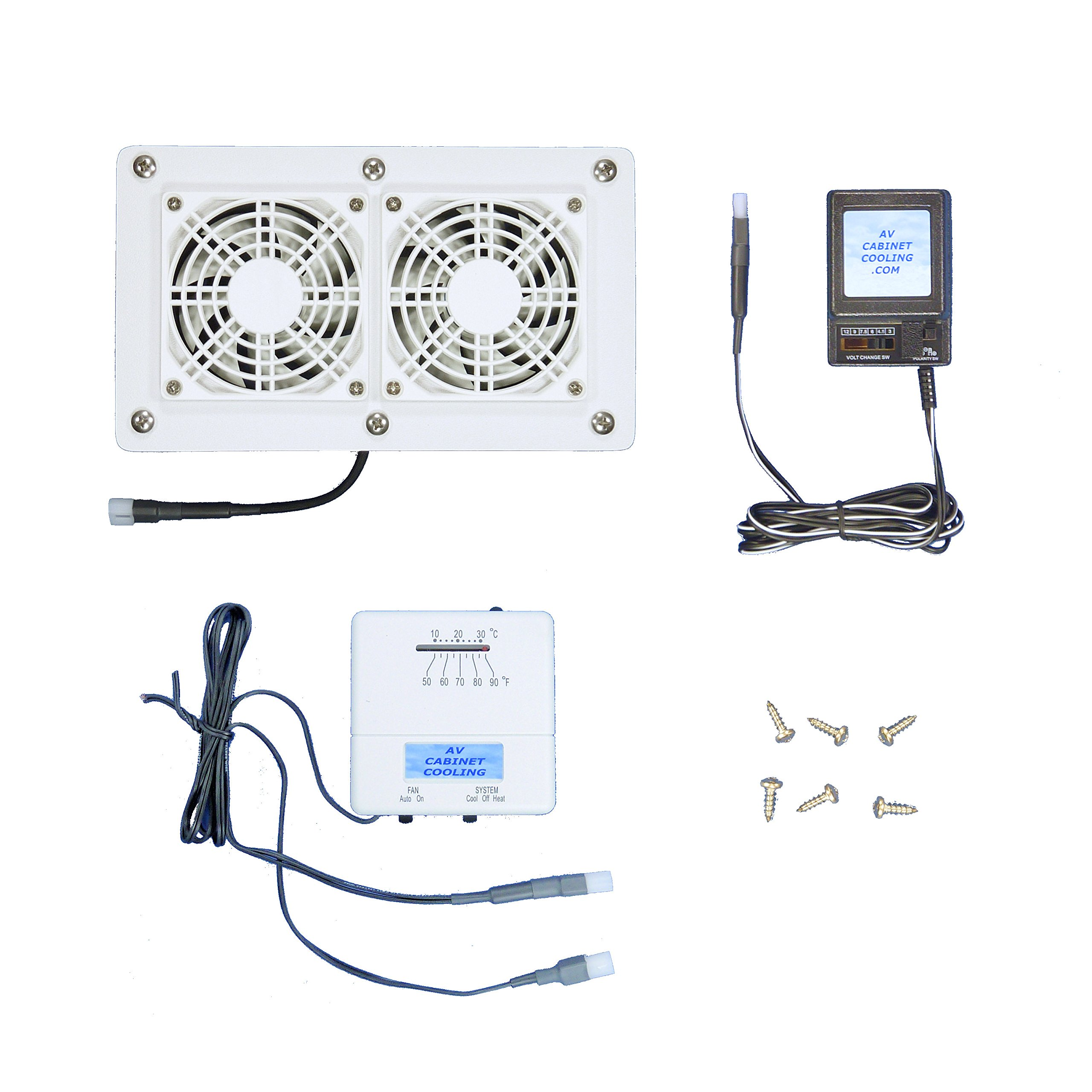 AV Cabinet/Desk Cooling Fans with Adjustable Thermostat & multispeed/White Model, for Home Theater Cabinets