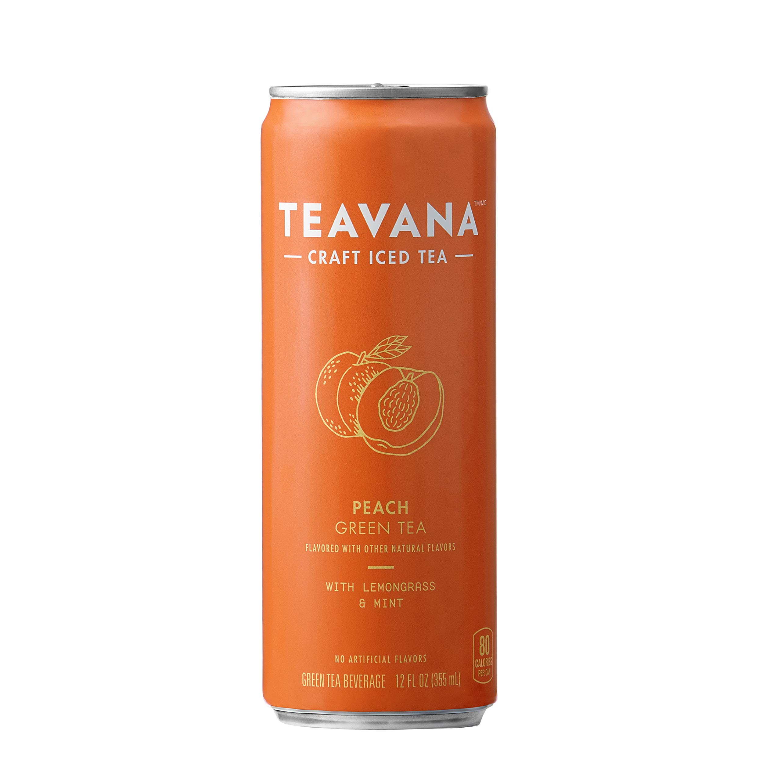 Teavana Craft Iced Tea, Peach Green Tea, 12 fl. oz. Cans (Pack of 12)