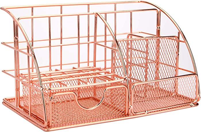 Yarlung Mesh Rose Gold Desk Organizer with 5 Compartments and Sliding Drawer, Multifunctional Office Supplies Holder, Desk Accessories Collection for Women and Men