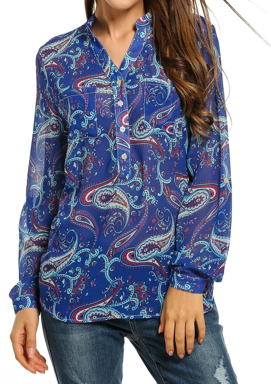 9a43efb253e01c Amazon.com  Zeagoo Womens Chiffon Blouses Casual Cold Shoulder Long Sleeve  Blouse Shirt Tops  Clothing