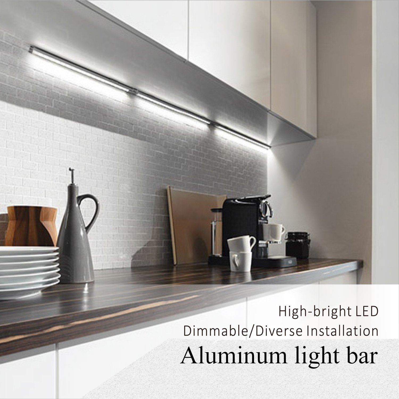 WORATON Under Cabinet Lighting Kitchen Lighting,Dimmable 3000K Warm White,33 LED Light Bar Wardrobe,Under Counter Lighting Shelf Lighting Closet(4 Pack)