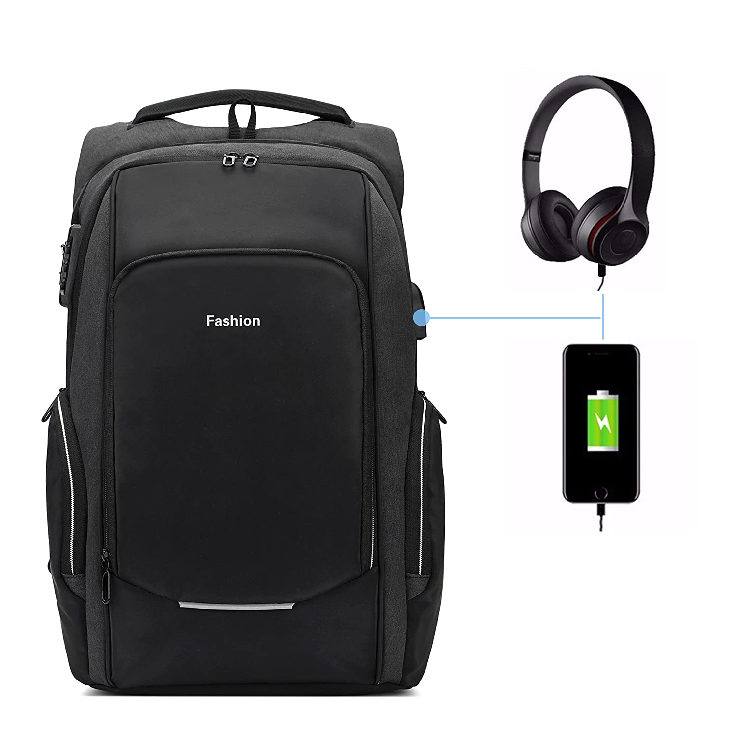 ANTI-THEFT Laptop Backpack, computer backpack with USB Charging Port Headphone port large capacity for travel,business business (black)