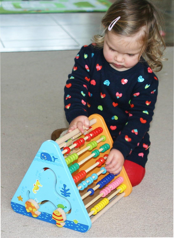 Horloge pour Apprendre Lheure et Labyrinthe en Bois Centre dActivit/é Enfant 5 en 1 Triangle dActivit/é avec Alphabet Bois Toys of Wood Oxford en Bois Centre dActivit/és