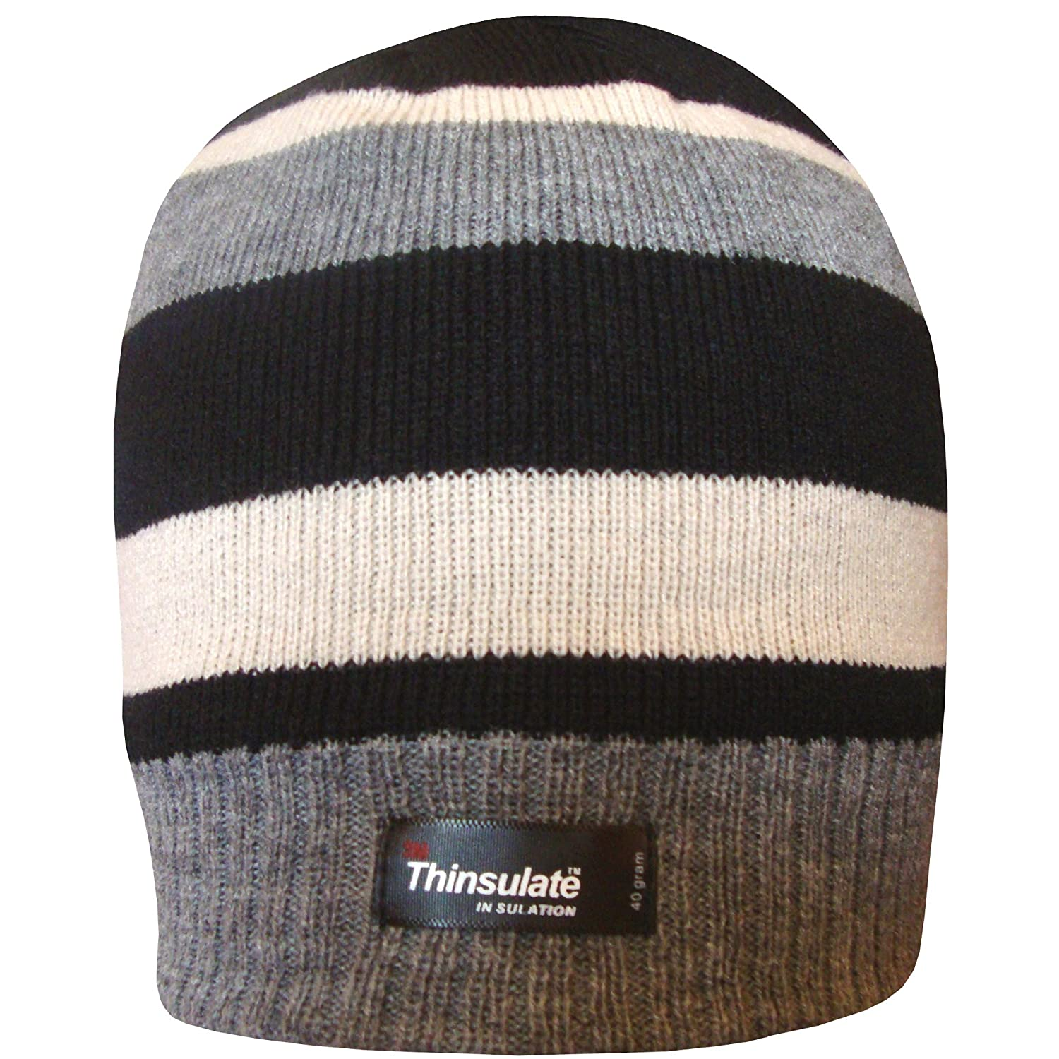 Boy s Black Thinsulate Stripy Thermal Winter Beanie Hat with Fleece Lining   Amazon.co.uk  Clothing fa7af6bbba56