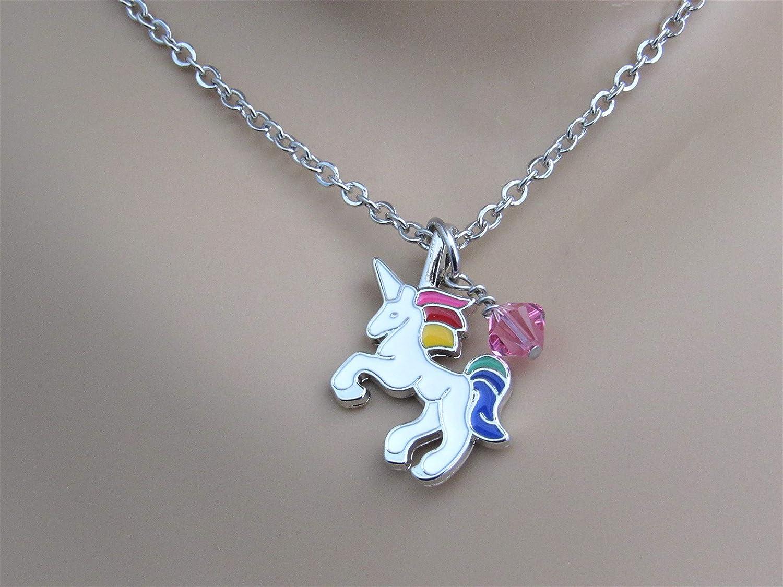 13d6cba8b2e3d Amazon.com: Unicorn Necklace with Swarovski Crystal Birthstone Bead ...
