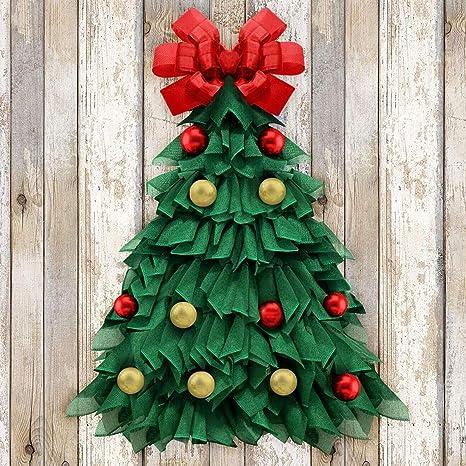 Corona De Navidad 24 Pulgadas Hecha A Mano Gran Corona De árbol De Navidad Decoraciones De Vacaciones Para El Hogar Puerta Delantera Ventana Pared Casa Rural Interior Y Exterior