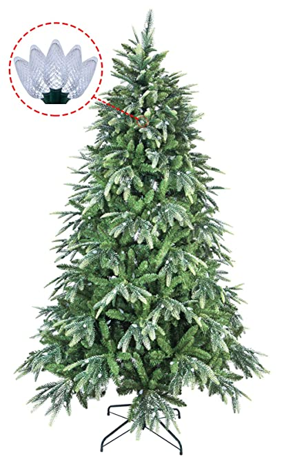 Abusa Multicolor Pe Pvc Mixed Pine Artificial Glitter Christmas Tree 7 5 Ft Prelit With 600 Ul Warm White Strawberry Led String Lights Metal Stand