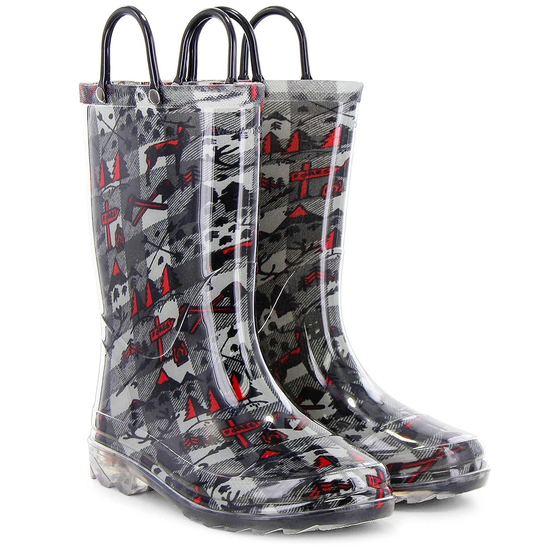 Size 13//1 Charcoal Deer Members Mark Kids Light Up Rain Boot