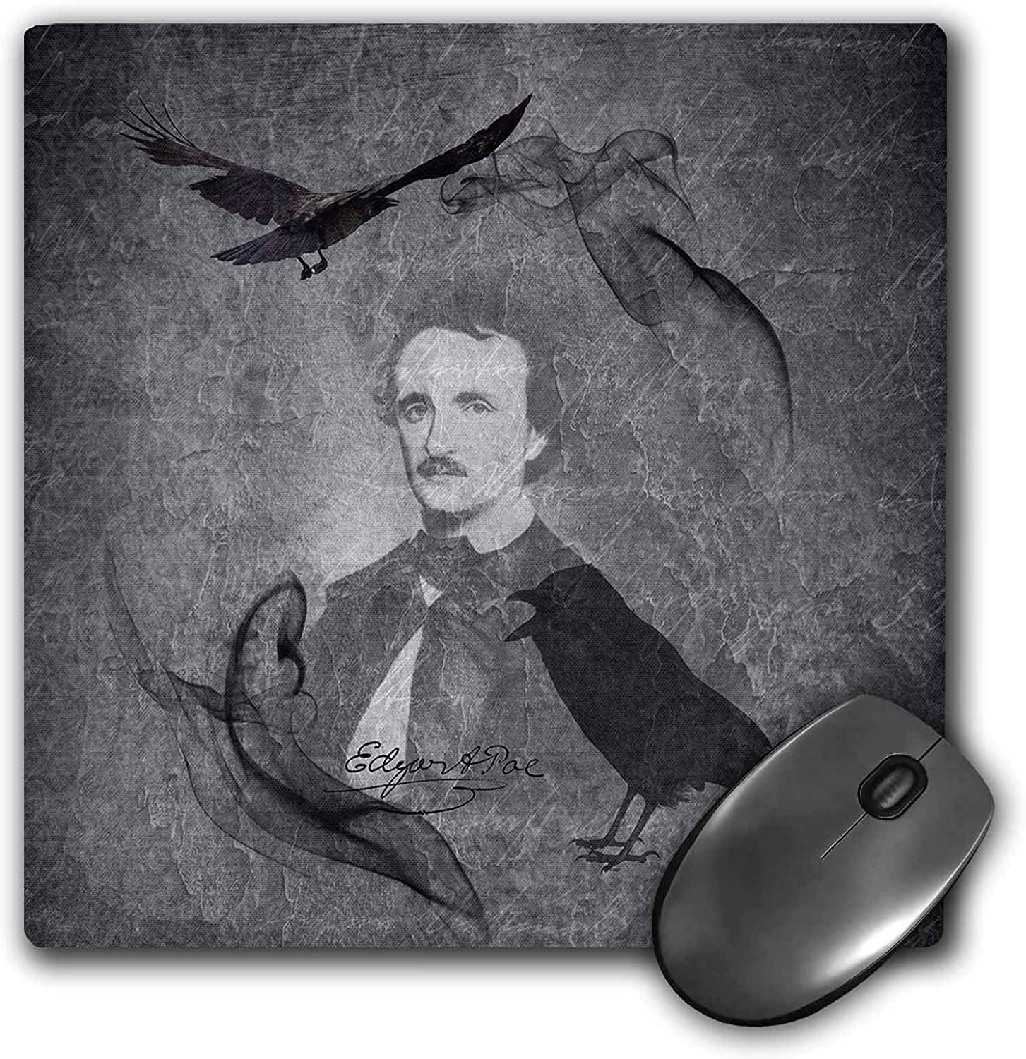 Poe with His Novel -The Raven- 3dRose Mouse Pad Showing E 8 by 8-Inches mp/_289792/_1 A