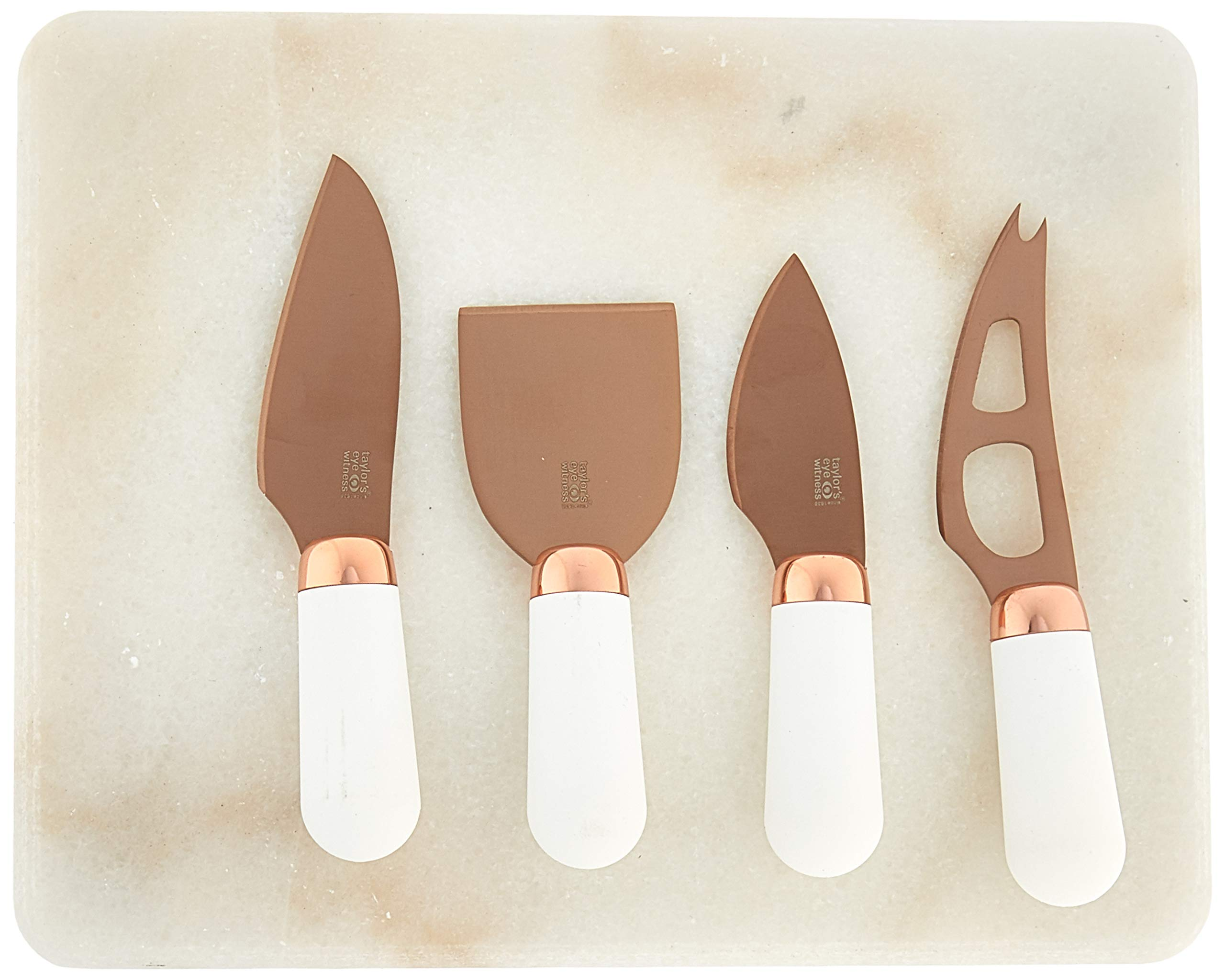 Taylor's Eye Witness TEW-LMS24CS11 Brooklyn Rose Gold 4 Pcs Knife Plus Marble Board Cheese Serving Set, one,
