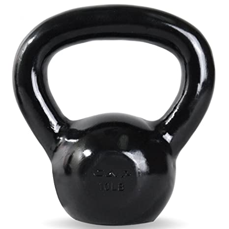 CAP Barbell Black Enamel Coated Cast Iron Kettlebell, 10 lb