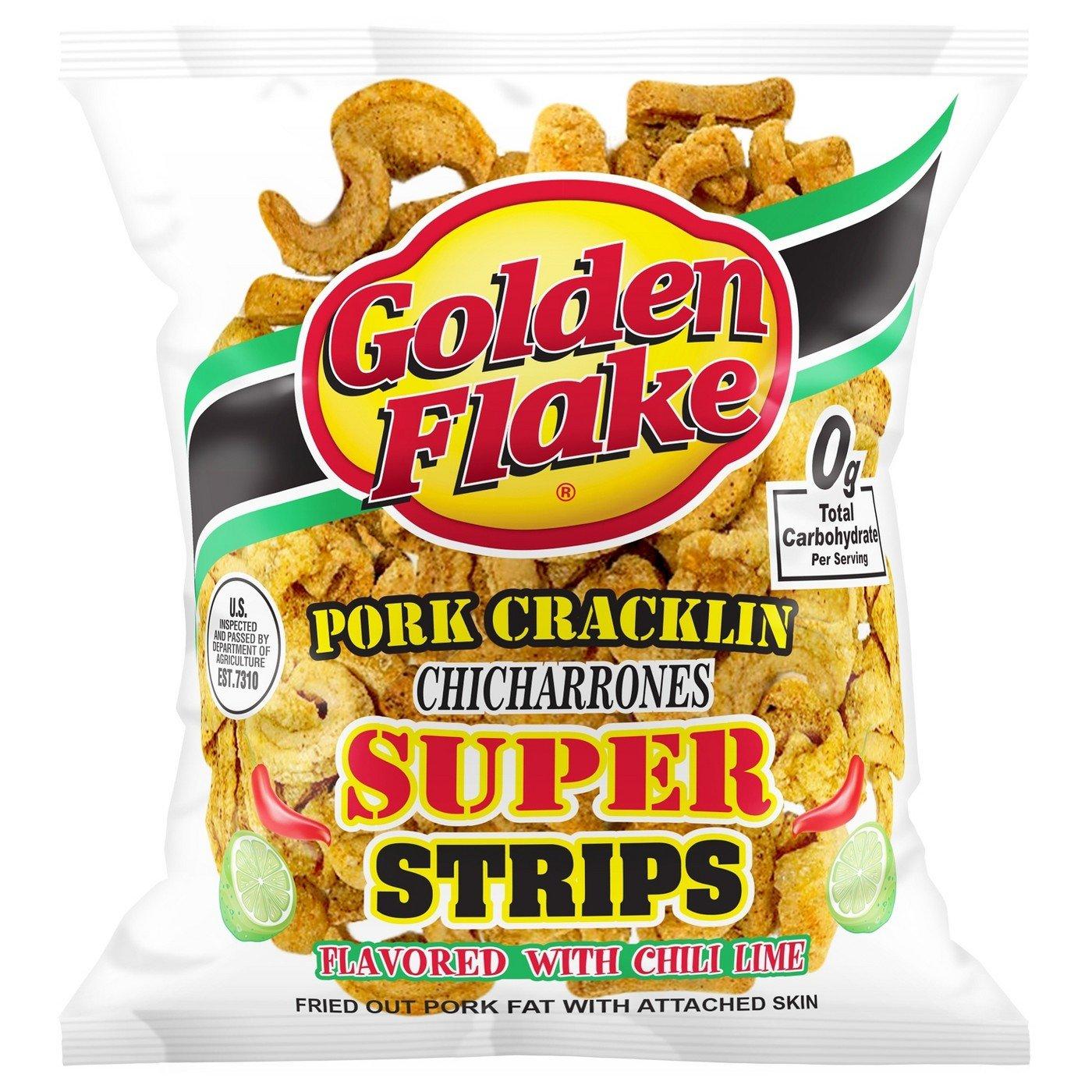 Golden Flake Pork Cracklin Chicharrones Super Strips 3.25oz, pack of 1