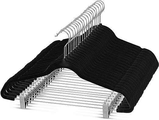 LOT Multifunction Hook Anti Slip Hanger Stacked Pants Rack with Pants Clip sale