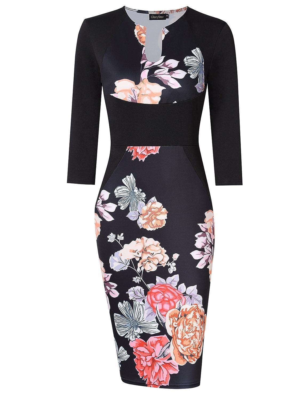 5e49711d954e0 [Features]: 3 4 sleeves and cut out deep v-neck, elegant floral print knee  length midi bodycon pencil dress. [Suitable Season]: Three quarter ...