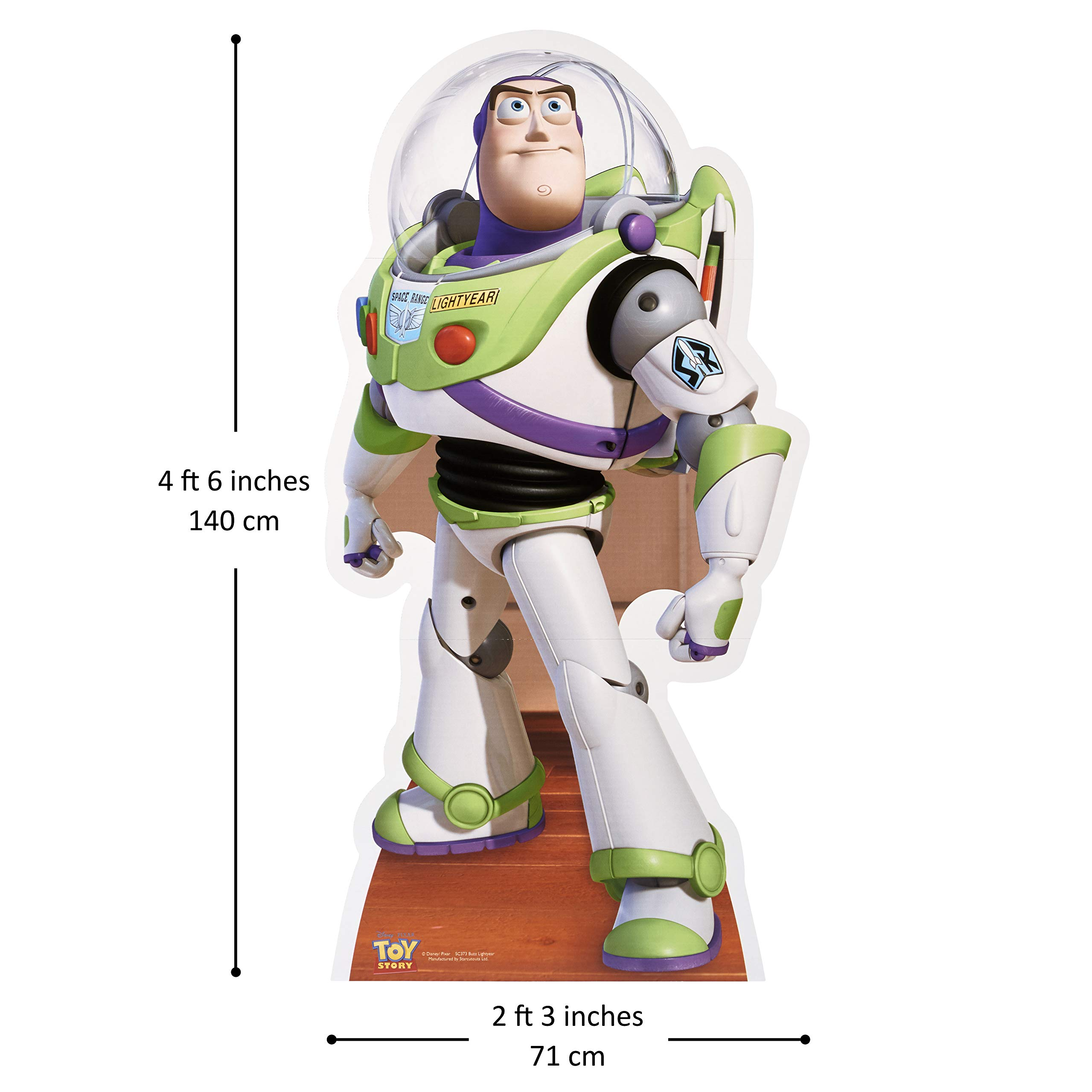 Star Cutouts SC373 Offical Disney Lifesize Cardboard Cut Out of Buzz Lightyear Toy Story Party and Gift 140cm Tall, Multicolour