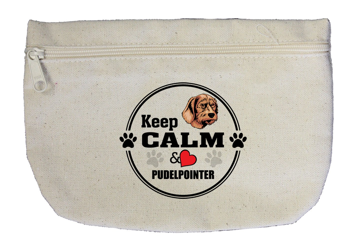 Canvas Zipper Pouch Makeup Bag Keep Calm Love Pudelpointer Dog Style In Print