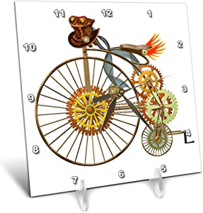 3dRose Penny Farthing Big Wheel Steampunk Bike Digital Art - Desk Clocks (dc_335859_1)