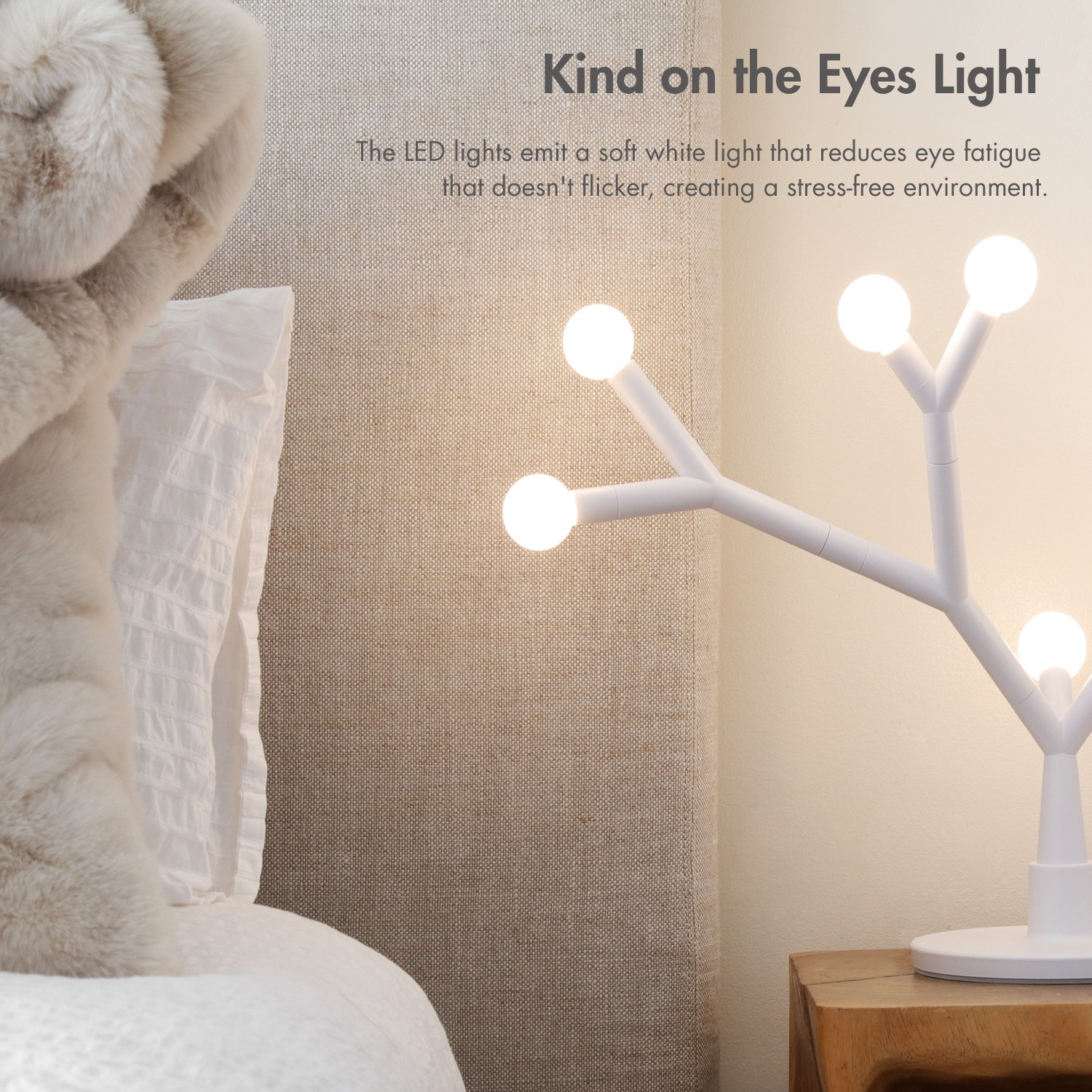 Tenergy Lumi Bloom Modern Table Lamp 8W 750LM LED DIY Nightstand Lamp Transformable for Hundreds Possible Shapes with 8 Warm White Bulbs Creative Stylish Lamp for Living Room Bedroom Office Ideal Gift by Tenergy (Image #4)