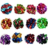 SunGrow Mylar Crinkle Balls for Cats, 1.5 - 2 Inches, Shiny and Stress Buster Toy, Lightweight and Suitable for Multiple…