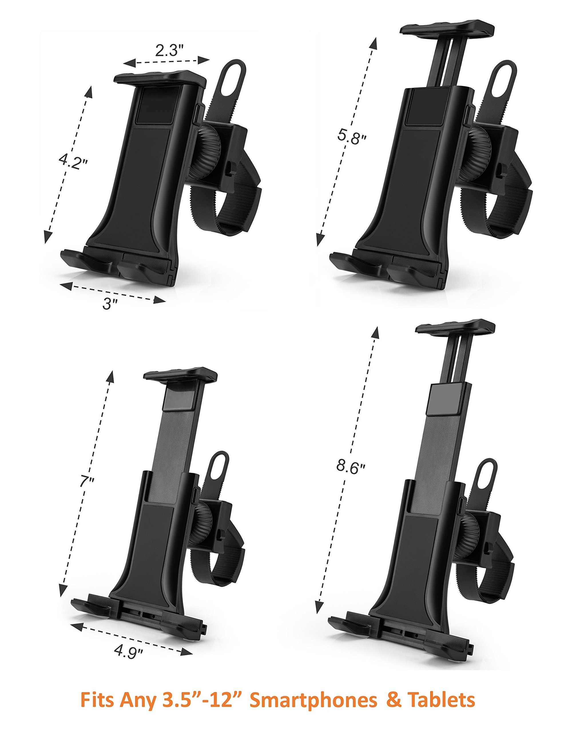 AboveTEK All-In-One Cycling Bike iPad/iPhone Mount, Portable Compact Tablet Holder for Indoor Gym Handlebar on Exercise Bikes & Treadmills, Adjustable 360° Swivel Stand For 3.5-12'' Tablets/Cell Phones by AboveTEK (Image #5)