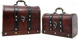 Allgala Medium Antique Wooden Jewelry Treasure Keepsake Box 2-PC Set-HD90206