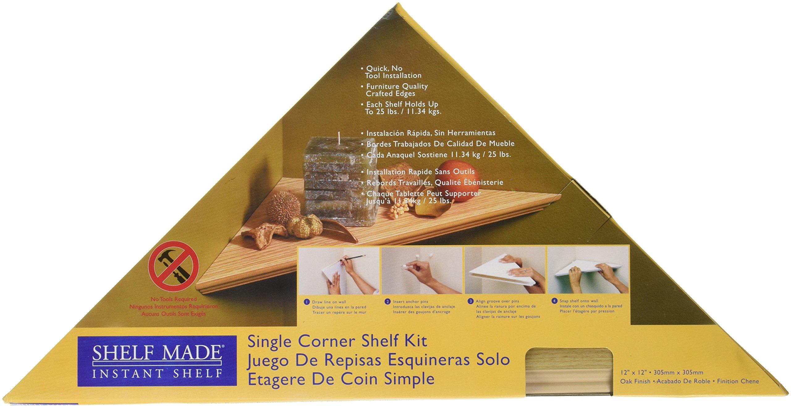 KV Kitchen & Bath Storage EZC 12/1 OK Oak Instant Corner Shelves Single Pack, 12''
