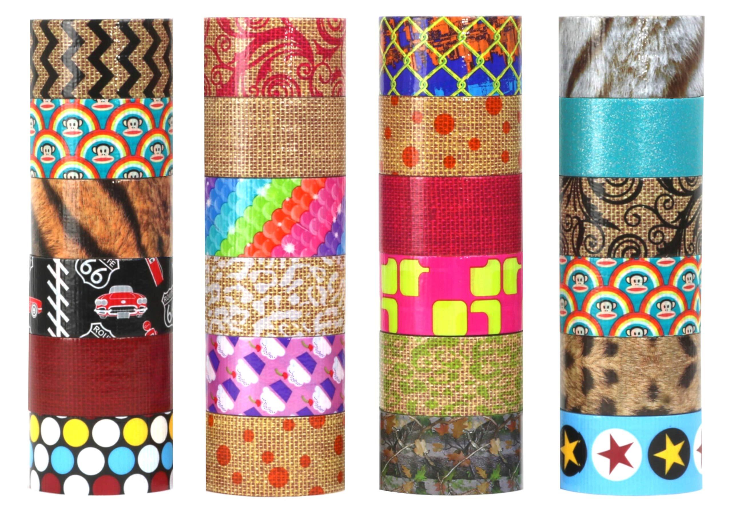 24 Random Rolls Assorted Duct Tape Bulk Set Of Colored Duct Tape