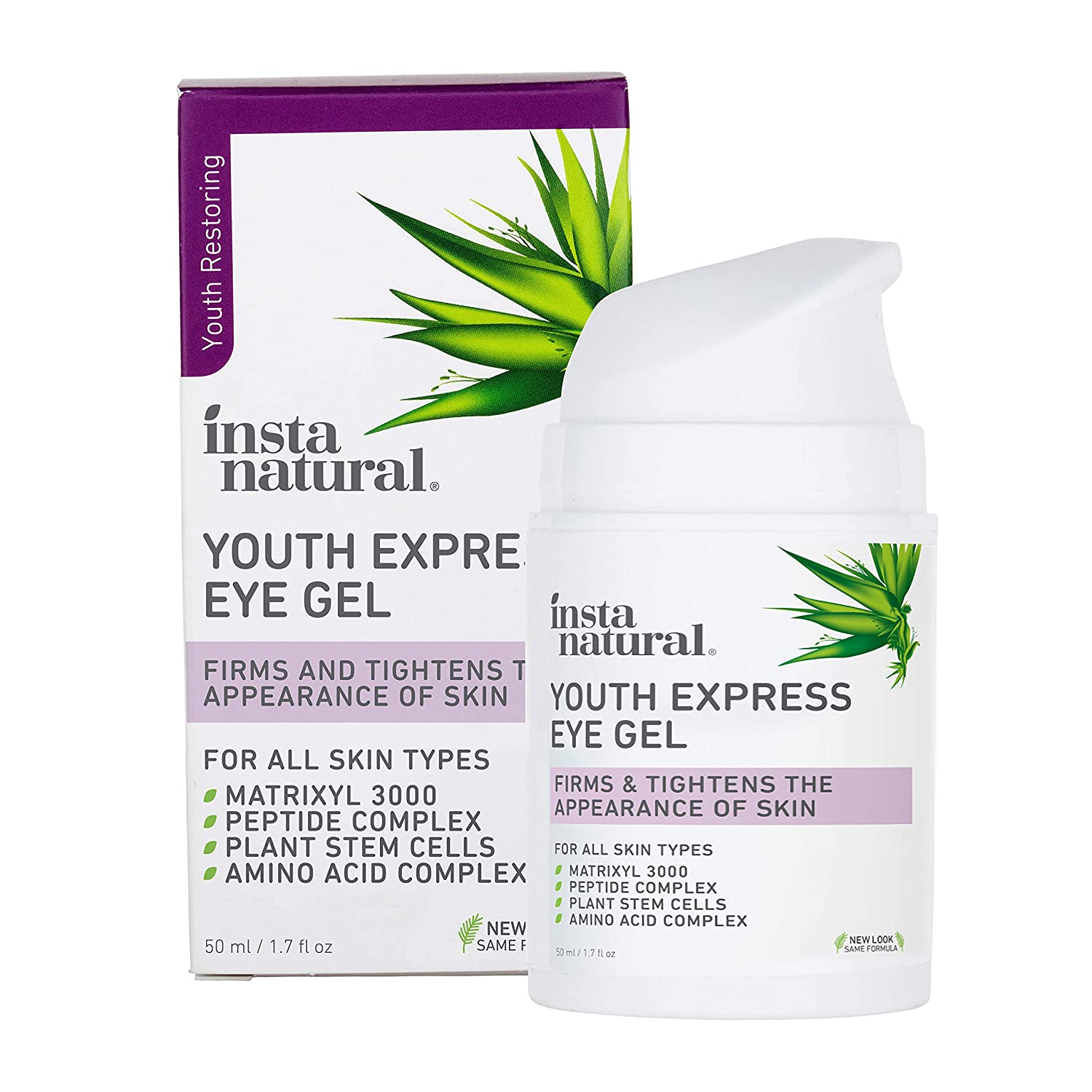 InstaNatural Eye Gel Cream - Wrinkle, Dark Circle, Fine Line, Puffiness, Redness Reducer - Anti Aging Blend for Men & Women with Hyaluronic Acid - Fight Bags & Lift Skin Under Eyes - 1.7 oz: Beauty