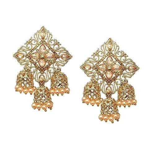 cb459c398 Bindhani Fashion Jewellery Ethnic Traditional Bridal Bride Wedding  Bridesmaid Gold Plated Kundan Faux Diamond Stone Pearl
