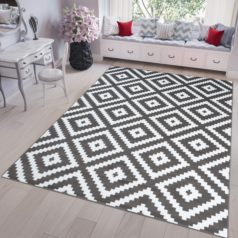 Tapiso FIRE Teppich Kurzflor Modern Geometrisch Karo Diamant Viereck Marokkanisch Muster Weiss Grau Designer Wohnzimmer Schlafzimmer 200 x 300 cm
