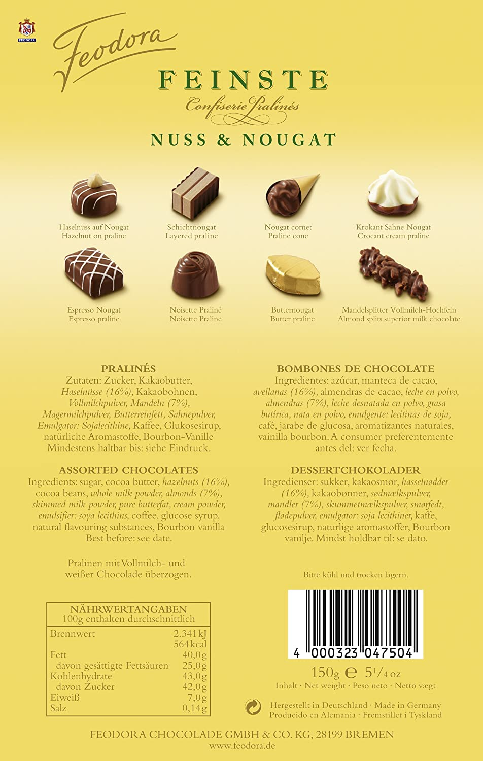 Amazon.com : Feodora Feinste Confiserie-Pralinés Nuss und Nougat, 1er Pack (1 x 150 g) : Chocolate Assortments And Samplers : Grocery & Gourmet Food