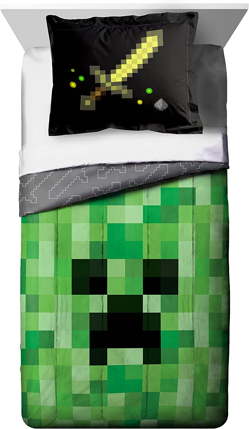 Jay Franco Minecraft Creeper Twin Comforter with Bonus Sham - Super Soft Kids Reversible Bedding - Fade Resistant Microfiber (Official Minecraft Product)