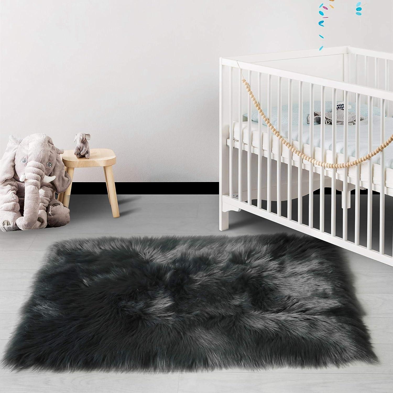 HAOCOO Faux Fur Runner Rug Dark Gray Shag Chair Coach Covers 2'x 4' Fluffy Wool Sheepskin Area Rug Soft Throw Rugs Rectangle Floor Carpet for Bedroom Sofa Bedside Nursery Home Decor