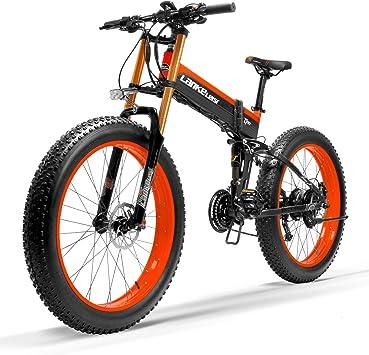 LANG TU Bicicleta de Nieve eléctrica Fuerte, Rueda de Grasa de tamaño Grande, Freno de Disco hidráulico Dual y suspensión, batería de Iones de Litio Grande: Amazon.es: Deportes y aire libre