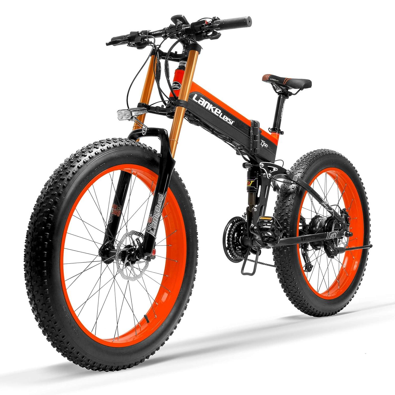 電動アシスト自転車スノーバイク、デュアル油圧ディスクブレーキ&サスペンション、大型リチウムイオンバッテリー (黒赤ダウンヒルフォーク, 1000W、14.5Ahプラス1個の予備バッテリー)   B07MD9XQXB