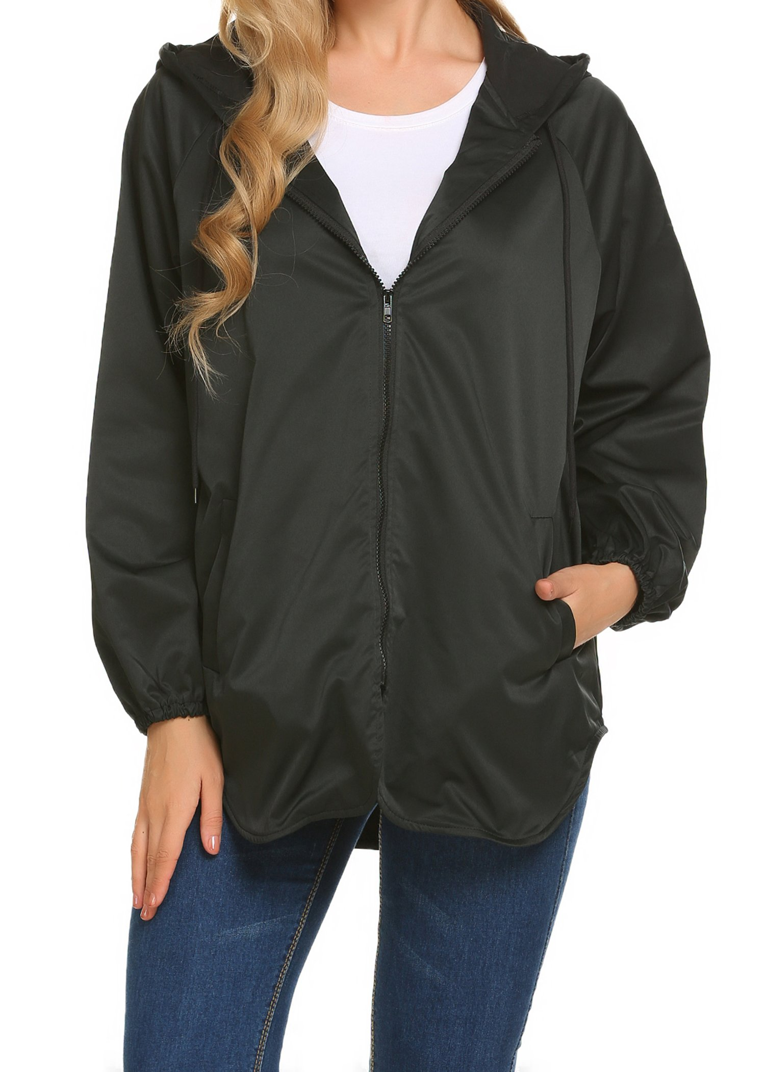 SummerRio Women's Waterproof Front-Zip Lightweight Hoodie Hiking Outdoor Raincoat Jacket(F+Black,XX-Large)