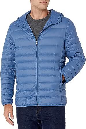 Amazon Essentials Men's Lightweight Water-Resistant Packable Hooded Down Jacket