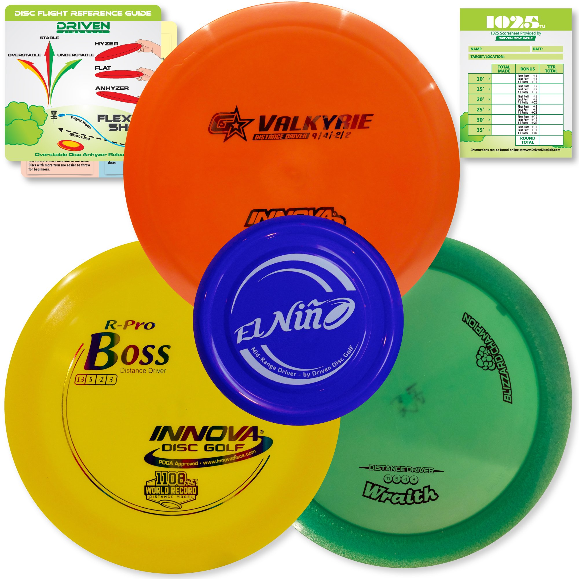 Innova Disc Golf Championship Set | 3 World Record Breaking Discs in PREMIUM Plastics - Includes 1025 Putting Game - Flight Reference Card - Driven Mini Marker | Disc Colors Vary by Driven Disc Golf