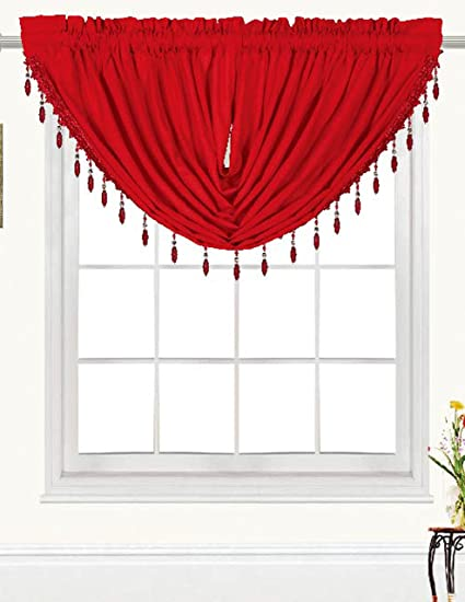 RT Designers Collection Kennedy Beaded Trim Swag 47 x 37 in. Valance, Red