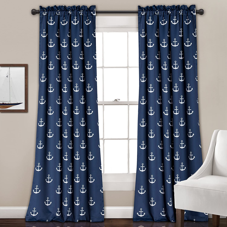 Amazon Com Lush Decor Darkening Window Curtain Set Navy Anchor Print 84 X 52 Home Kitchen