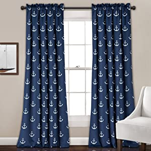 "Lush Decor Darkening Window Curtain Set, Navy Anchor Print, 84"" x 52"""