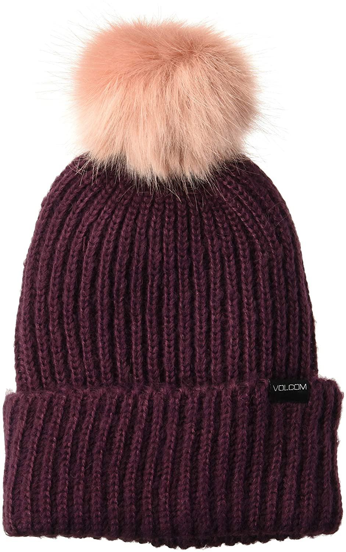 a26c80c475b Amazon.com  Volcom Women s Lula Faux Fir Pom Snow Beanie  Clothing