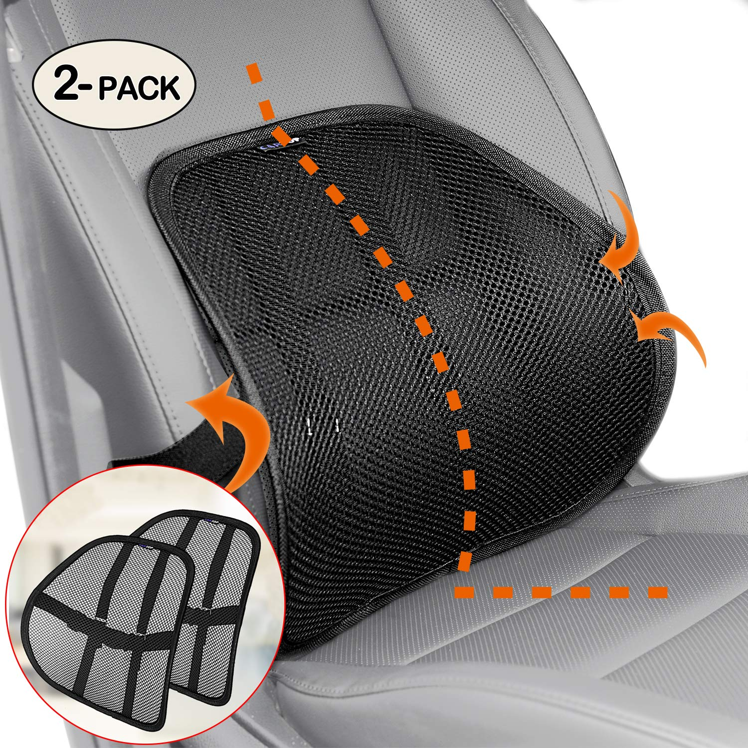 Lumbar Support, Cartop Mesh Back Cushion 2 Pack Lower Back Support, Double Mesh Lumbar Cushion Air Flow Breathable Back Support Cushion - Suitable for Office Chair Home Car (2-Pack) by Cartop