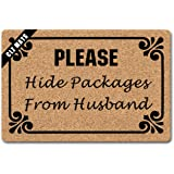 Clz Entrance Mat Please Hide Packages from Husband Funny Doormat Rug Decorative Indoor Non-Woven 23.6 by 15.7 Inch Machine Wa