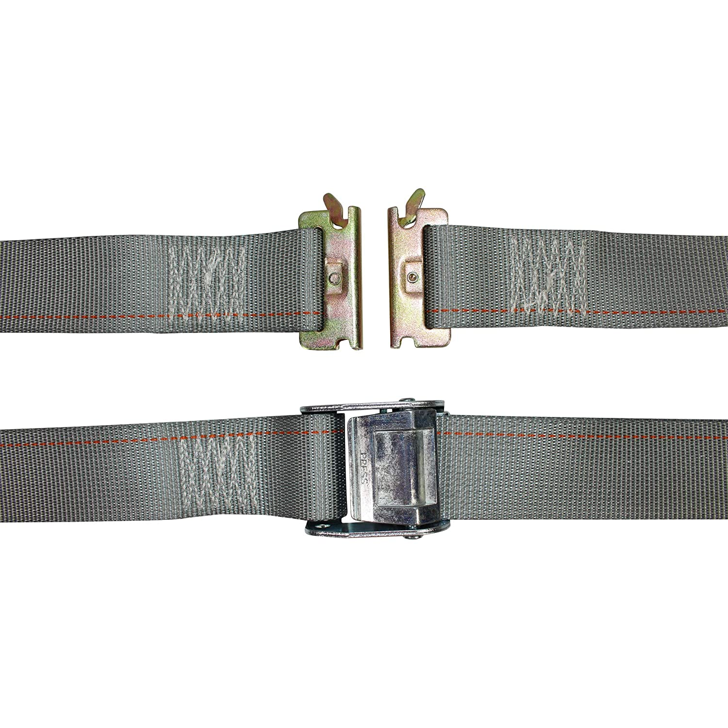 E-Track Ratcheting Cargo Strap SGT KNOTS Flatbed 2 in x 16 ft Strap with Cam - 10 Pack - Gray ETrack Lashing Tie Down for Loading Truck Bed E Track Heavy Duty Adjustable Cam Buckle Straps