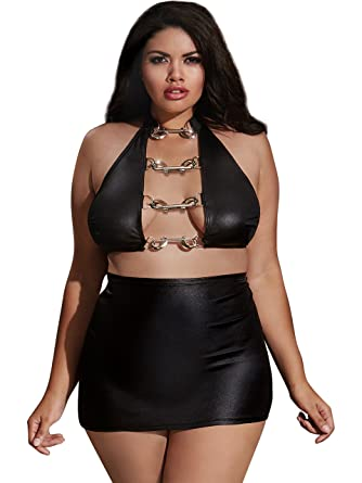 2d0c5ee3a Amazon.com: Dreamgirl Women's Plus Size Faux-Leather Crop Top and Skirt,  black OSQ: Clothing