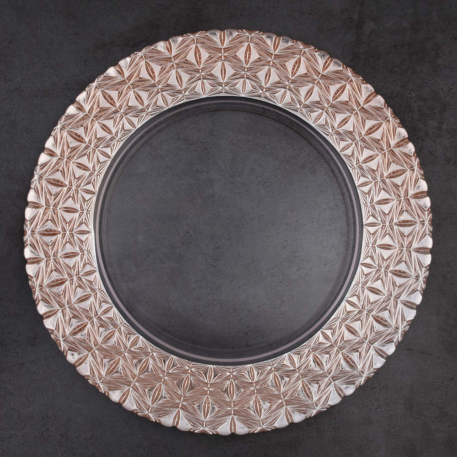 """Banquets Table Setting ALINK Glass Charger Plates 13/"""" Clear Gold Rim Plates for Dinners Set of 4 Events Decoration Receptions Weddings"""