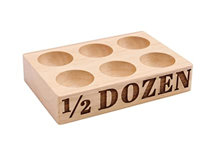 Wooden Egg Holder For Fridge Or Egg Storage 6 Eggs Half Dozen